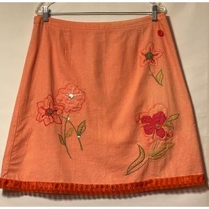 Vintage XL Linen Coral Appliqué Full Skirt Buttons